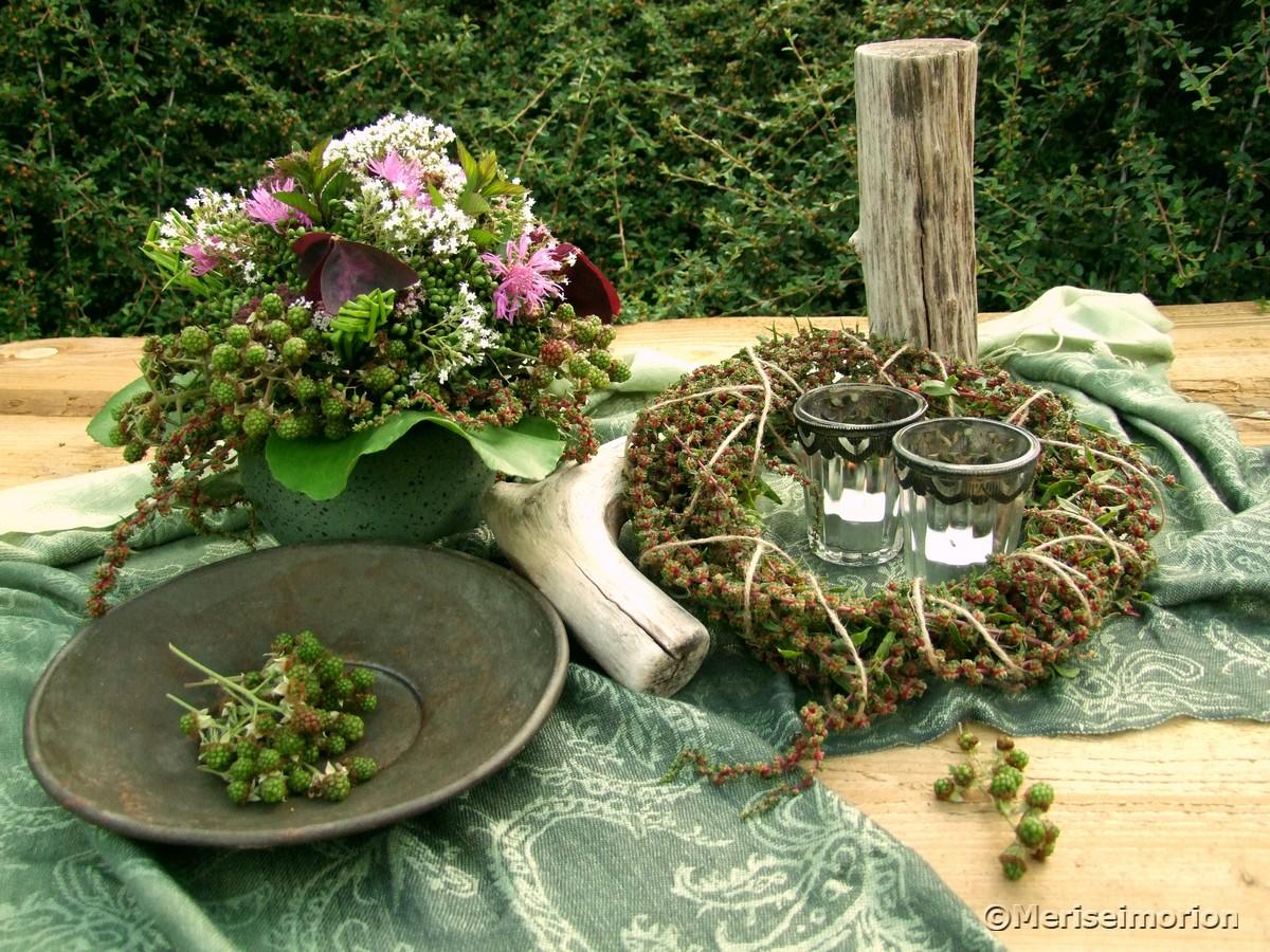 grüne Brombeeren Sommerdeko
