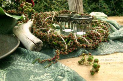 Grüne Brombeeren und Mangold Samen für die Sommerdeko