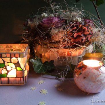 Herbstliche Tischdeko in Rosa