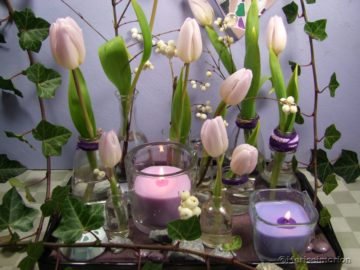 Tablett Deko im Januar mit Tulpen