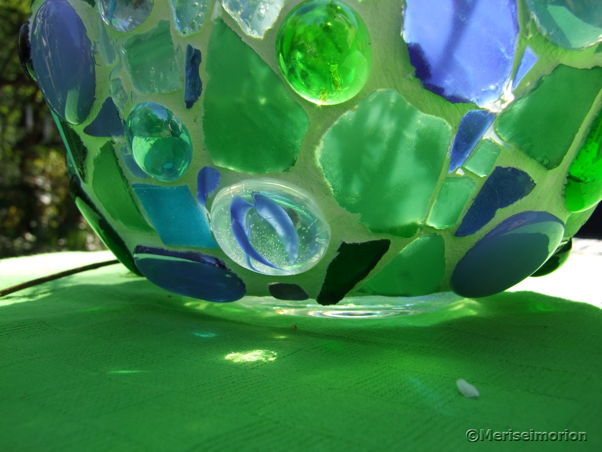 Mosaik Windlicht in Blau und Grün