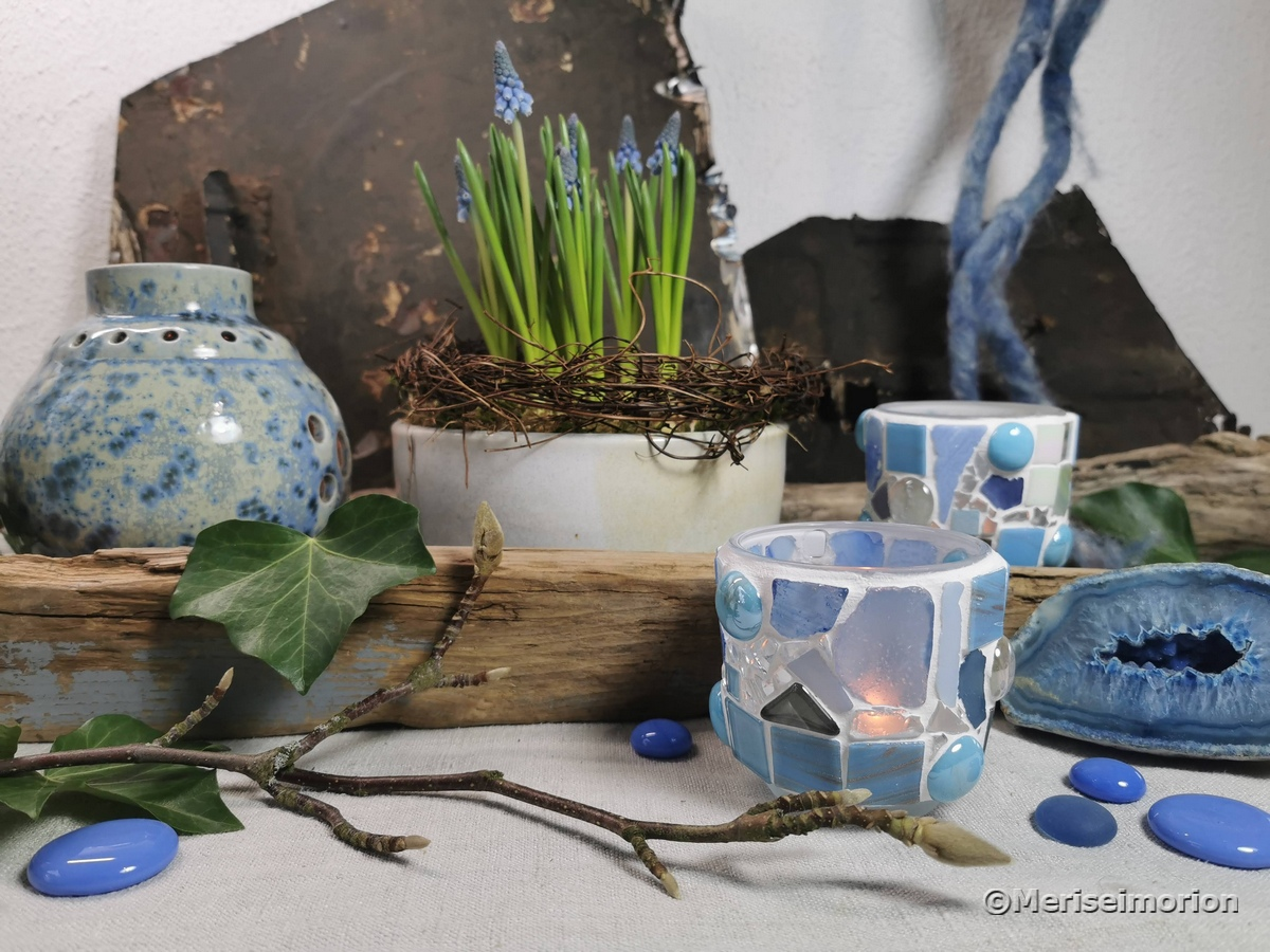 Blaue Frühlingsdeko