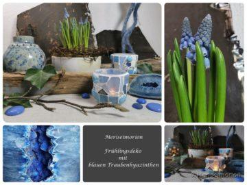 Eine Frühlingsdeko mit blauen Traubenhyazinthen